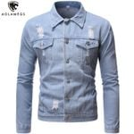 Hole Ripped Cowboy Simple Classic Style Denim Jackets