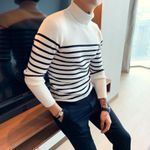 Slim contrast color striped sweater