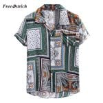 Vintage Ethnic Printed Turn Down Collar Short Sleeve Shirts