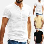 Baggy Cotton Linen Soid Color Short Sleeve Shirts