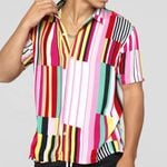 loose solid printed striped slim fit Short Sleeve Shirts