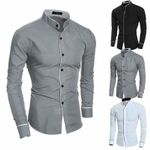 Smart Casual Formal Long Sleeve Turn Down Collar Dress Shirts