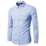 long sleeve Polyester fit Slim Casual Solid Dress Shirts