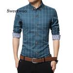 Plaid Casual Long Sleeve Cotton Dress Shirts