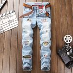 Patchwork Ripped Embroidered Stretch Jeans