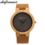 Minimalist Leather Strap Bamboo Quartz Wood Watches