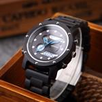 Business Quartz Dual Dispaly Wooden Wristwatches