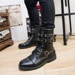 Rivet Punk Martin Fashion Leather Lace-up Motorcycle Boots