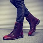 Fashion Casual Leather Motorcycle Boots