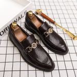 Crocodile Office Pointed Toe Oxford Shoes