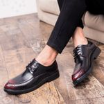 Flat Black Formal Split Leather Casual Oxford Shoes