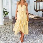 Chiffon Striped Sleeveless Backless Halter Boho Bohemian Dress