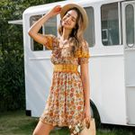floral ruffles vintage puff short boho dress