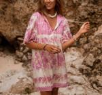 cotton rayon pink floral mini Boho Bohemian Dress