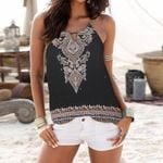 Ethnic Print Strappy Sleeveless Hollow Out Boho Top