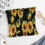 Fashion Sunflower Print Ruffle Boho Bohemian Tops