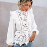 Long Sleeve Floral Lace Elegant Boho Bohemian Blouse