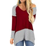 Striped Printing V Neck Long Sleeve Boho Shirts