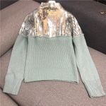 stand collar mint green color mohair wool knitted patchwork Boho Sweaters