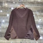loose v-neck long sleeve knitted satin fabric patchwork Boho Sweaters