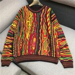 o-neck long sleeve colorful geometric 3D pattern Boho Sweaters