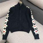 stand collar zipper patchwork 3D flower embroidery Boho Sweaters
