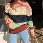 o neck striped multicolor runway thick Boho Sweaters