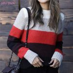 Fashion O-Neck Colourful Long Sleeve Patchwork Boho Sweaters