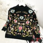 Embroidered Flower Loose Round Neck Boho Sweaters