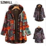 Fashion Print Long Hooded Warm Boho Coats