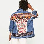 Denim Floral Embroidery Beading Loose Long Sleeve Boho Jackets