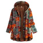 Windbreaker Print Hooded Pockets Vintage Boho Coats