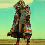 Fake Furs Long Sleeve Runway Bohemian Coats