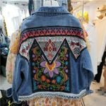Multi Floral Embroidered Denim Boho Jacket
