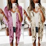 Half Sleeve Floral Print Chiffon Boho Bohemian Kimonos