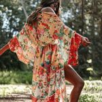 Casual Maxi Red Floral Long Sleeve Chiffon Boho Bohemian Kimonos
