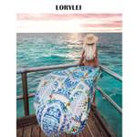 Print Blue Cotton Long Boho Bohemian Kimonos