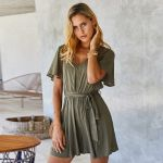 Vintage Solid Loose Short Sleeve V Neck Sexy Boho Bohemian Rompers