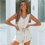Solid Vintage Sleeveless Sashes O Neck Boho Bohemian Rompers