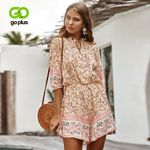 Floral Print High Waist Sexy V Neck Vintage Boho Bohemian Rompers