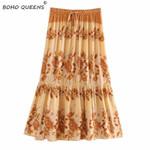Vintage chic Hippie floral peacock printed Boho Bohemian Skirts