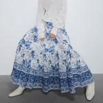Elastic waist Polyester blue floral print Boho Bohemian Skirts
