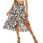 Chiffon Leopard Printed Irrgular Split Boho Bohemian Skirts