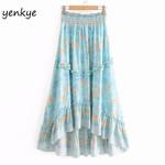 Floral Print Elastic High Waist Big Swing Ruffle Boho Skirt