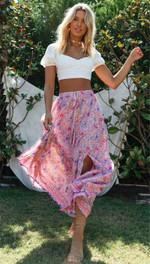 Floral Vintage High Waist Split Boho Bohemian Skirts