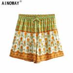 Vintage chic floral print bohemian happie shorts
