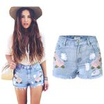 Fitness Casual Denim Embroidery Floral High Waist Boho Shorts