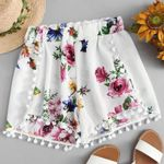 Floral Mid Waist Mini Tassel Elastic Waist Boho Shorts