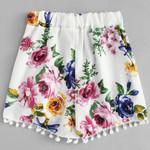 tassel Lace Floral Print Mid Waist Boho Bohemian Shorts