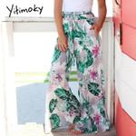 Tropical Green Palm Leaf Print Boho Wide Leg Pants